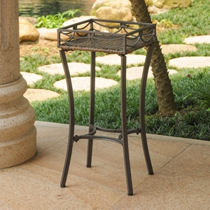 Valencia Plant Stand - Antique Brown, Resin Wicker / Steel