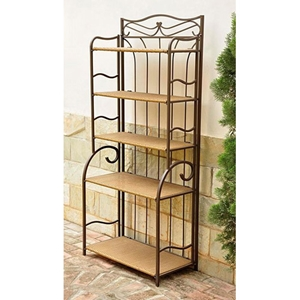 Valencia 5-Tier Bakers Rack with Wicker Shelves