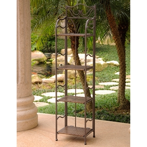 Valencia Bakers Rack - Antique Brown, 4-Tier, Folding