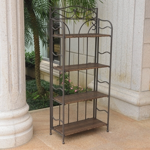 Valencia 4-Tier Folding Bakers Rack - Antique Brown
