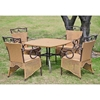 Valencia 5 Piece Patio Dining Set - Wicker, Skirted Chairs - INTC-4130-S-5