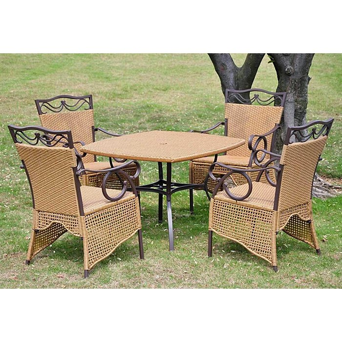 Valencia 5 Piece Patio Dining Set Wicker Skirted Chairs