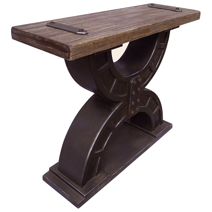 Toussaint Console Table - Wood Top, Double Horseshoe Base - INTC-41B-12A313