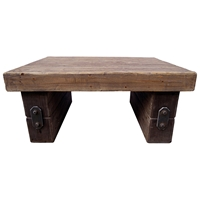 Toussaint Wooden Coffee Table - Forged Iron-Look Accents