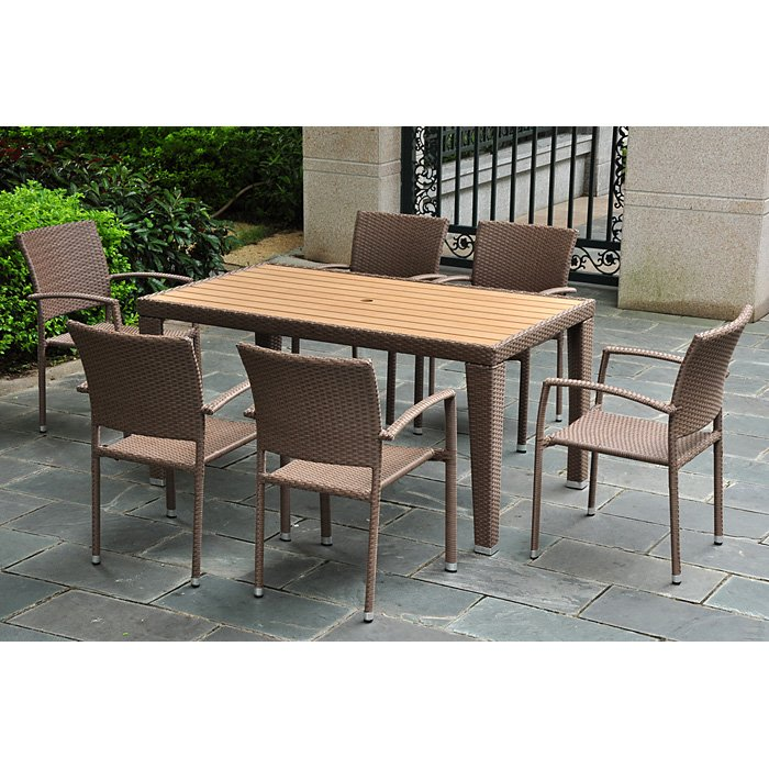 Barcelona Patio Dining Set - Rectangular Table, Antique Brown - INTC-4200-RT-4210-6CH-ABN