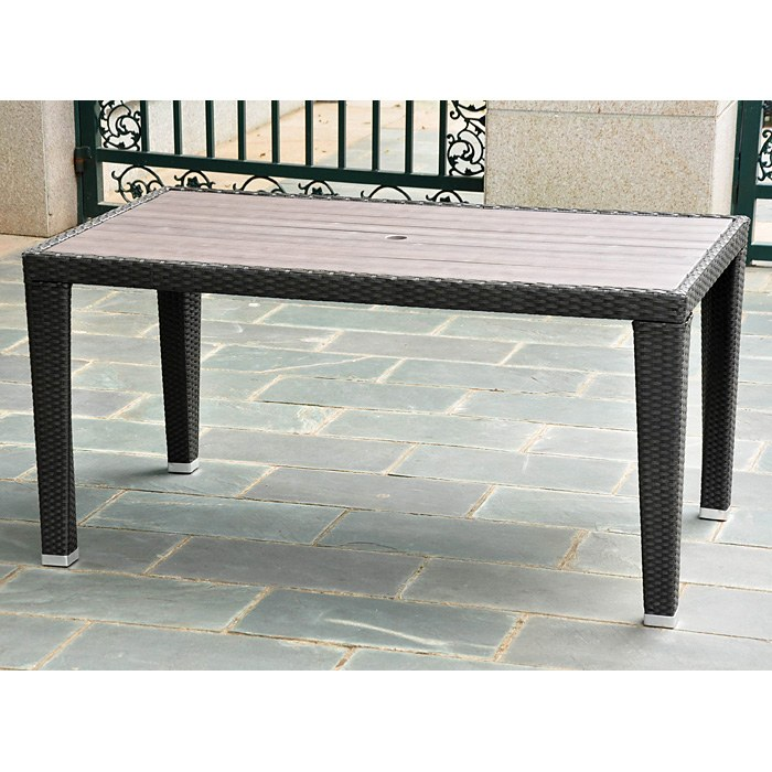 Barcelona Rectangular Dining Table Black Antique Wicker DCG Stores