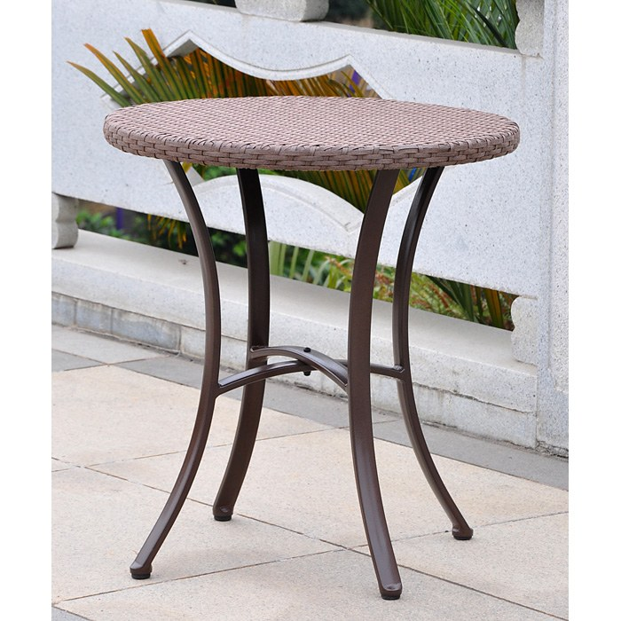 Barcelona Patio Bistro Set - Round Table, Antique Brown Wicker - INTC-4203-RD-4210-2CH-ABN