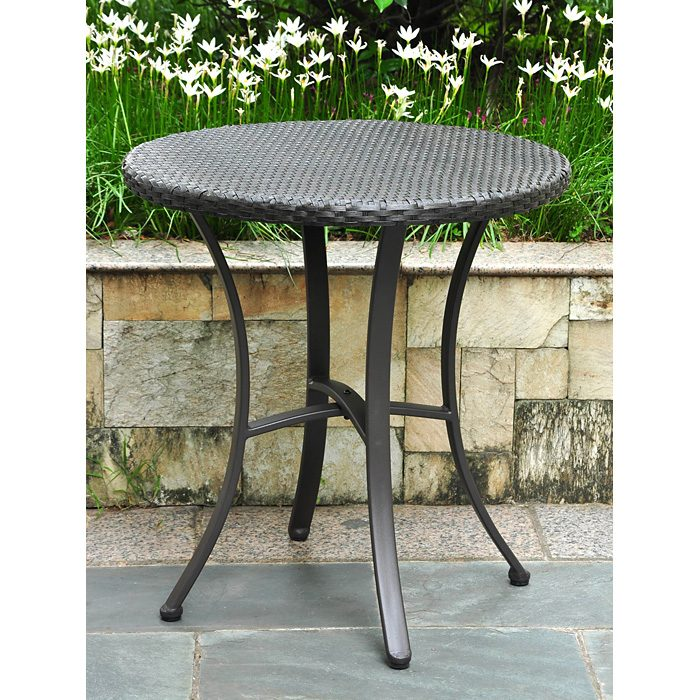 Barcelona Round Bistro Table - Black Antique Wicker - INTC-4203-RD-BKA