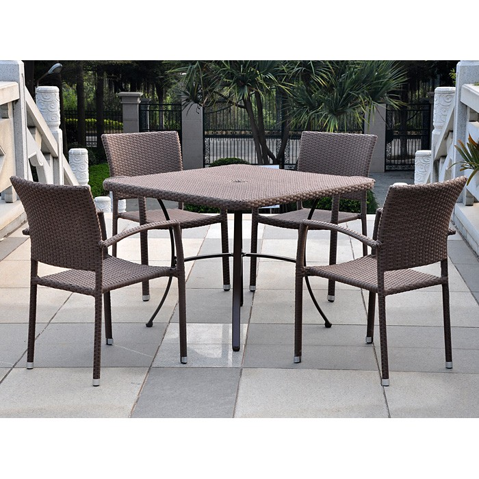 Barcelona Patio Dining Set - Square Table, Antique Brown Wicker - INTC-4206-SQ-4210-4CH-ABN