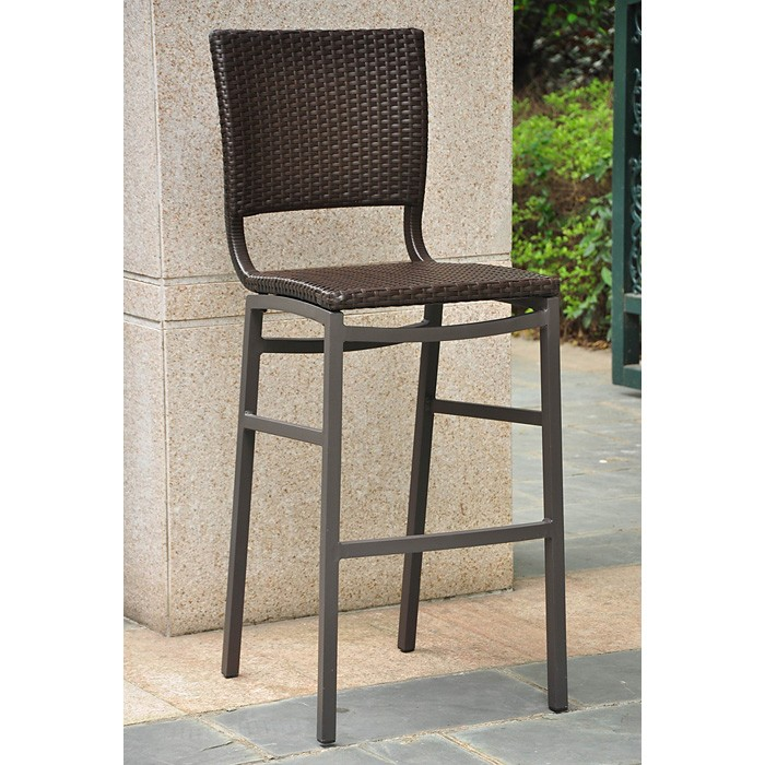 "Barcelona 30"" Bar Stool - Wicker, Aluminum Frame (Set of 2)"
