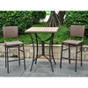 Barcelona Patio Bar Set - Square Table, Antique Brown Wicker - INTC-4215-S-3-ABN