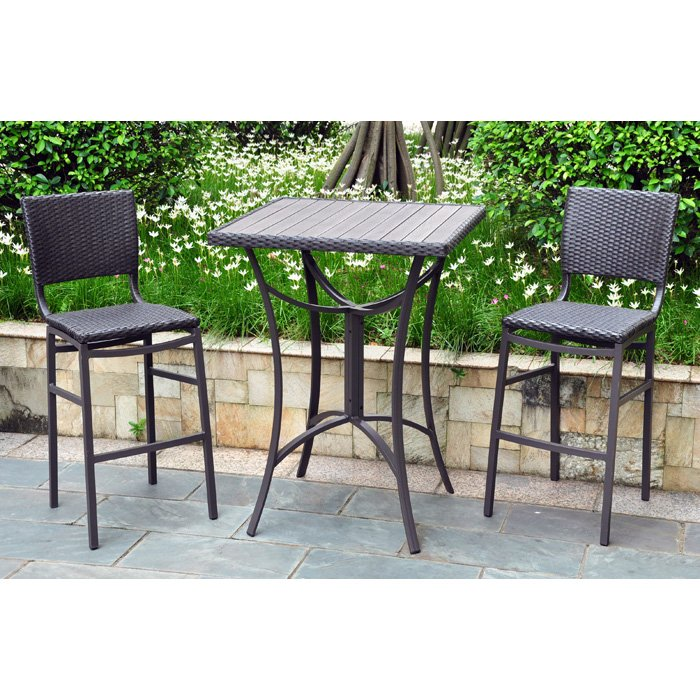 Barcelona Patio Bar Set   Square Table, Black Antique Wicker   INTC 4215   ...