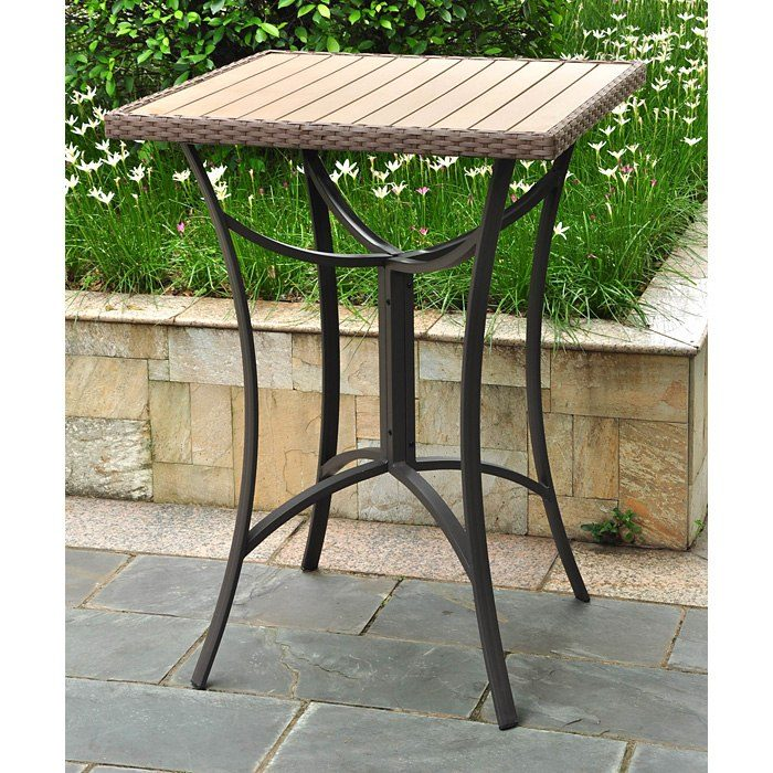 Barcelona Square Patio Bar Table - Wicker, Aluminum Frame - INTC-4215-TBL