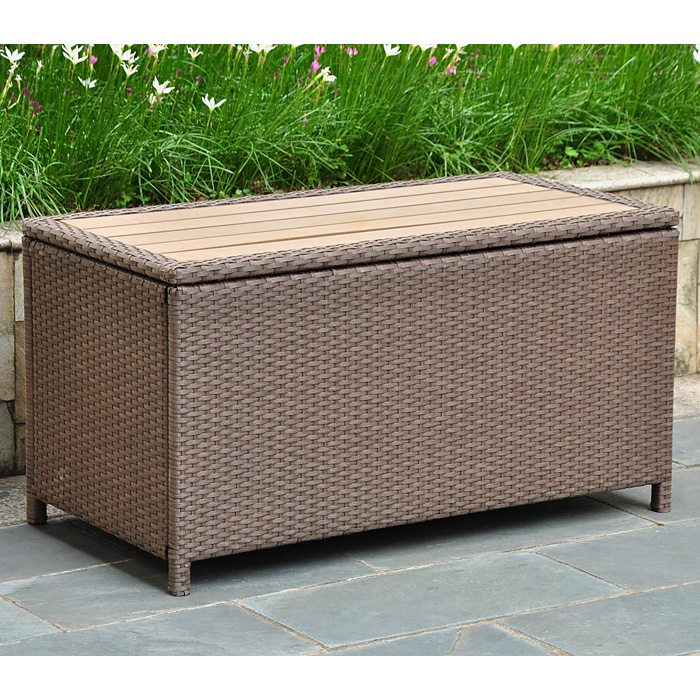 Barcelona Outdoor Trunk Coffee Table Antique Brown Wicker Dcg Stores