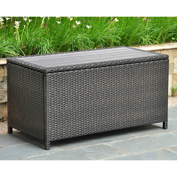 Barcelona Outdoor Trunk / Coffee Table - Black Antique Wicker - INTC-4220-BKA