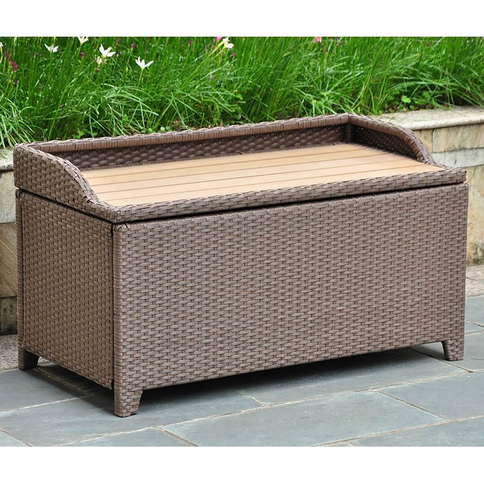 Barcelona Outdoor Storage Trunk Bench Antique Brown Wicker Dcg Stores