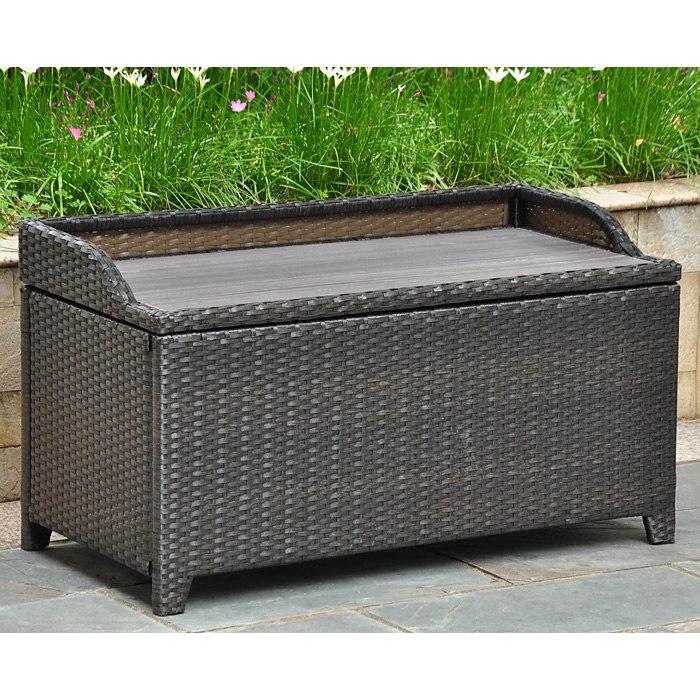 Beau Barcelona Outdoor Storage Trunk / Bench   Black Antique Wicker | DCG Stores