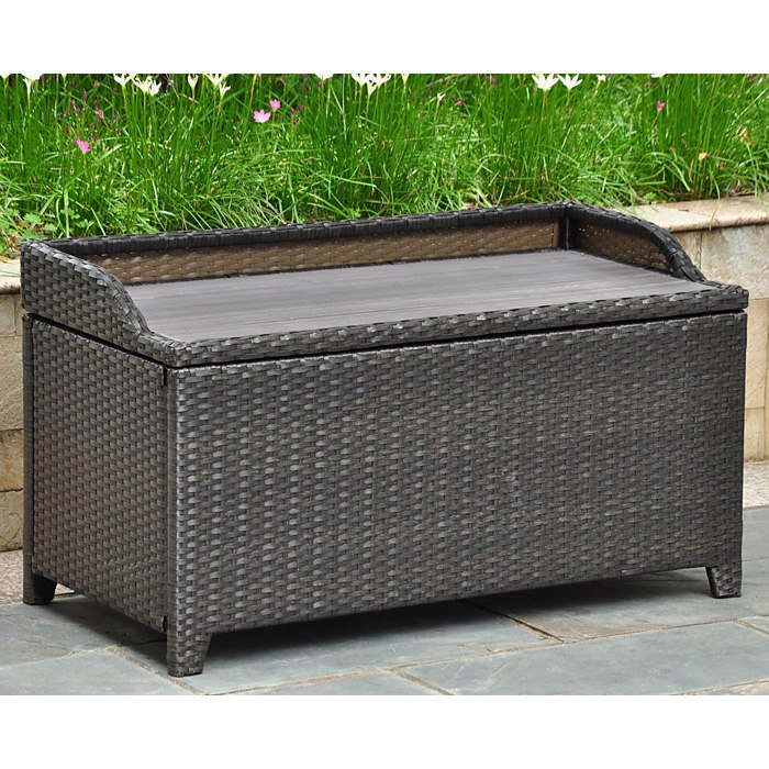 Barcelona Outdoor Storage Trunk Bench Black Antique Wicker Dcg Stores