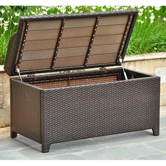 Barcelona Outdoor Storage Trunk Bench Chocolate Wicker Intc4221ch