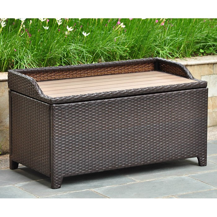 Barcelona outdoor storage trunk bench chocolate wicker for Outdoor furniture with storage