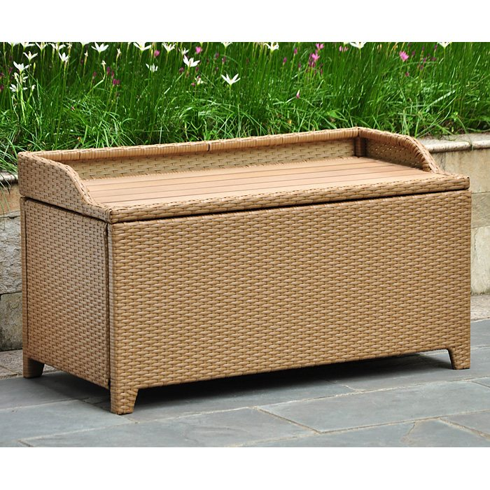 Barcelona Outdoor Storage Trunk Bench Honey Wicker Dcg Stores