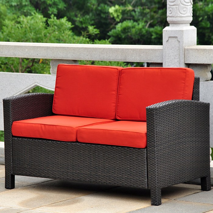 barcelona patio living room set black antique wicker red dcg stores. Black Bedroom Furniture Sets. Home Design Ideas