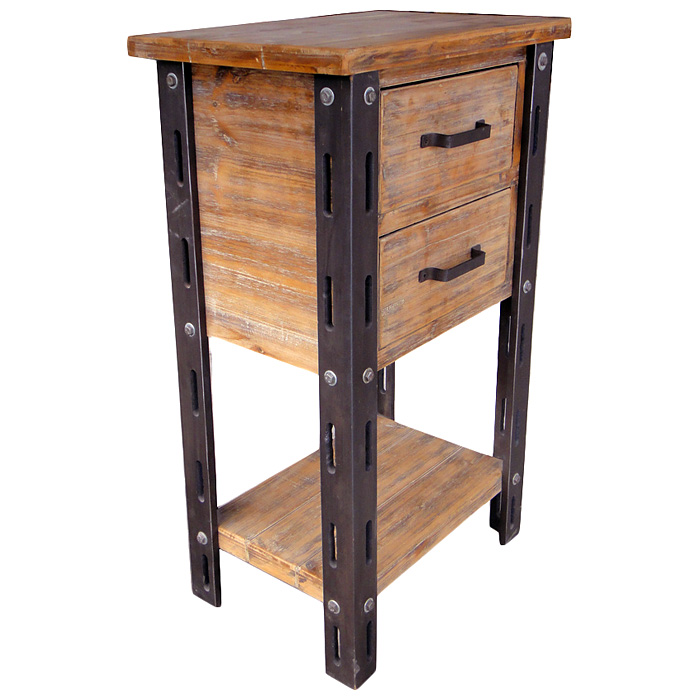 Woodrow Tall Accent Table 1 Bottom Shelf 2 Drawers