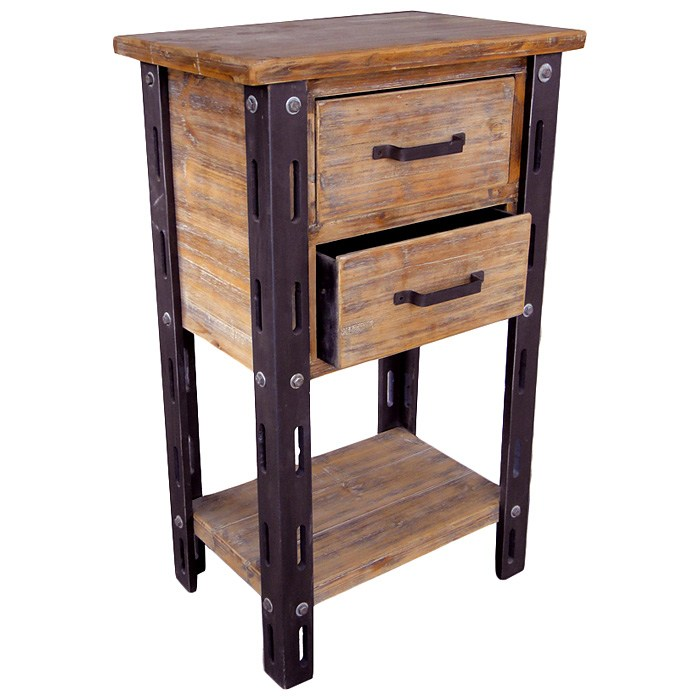 Woodrow Tall Accent Table - 1 Bottom Shelf, 2 Drawers - INTC-46B-12A744