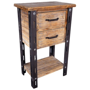 Woodrow Tall Accent Table - 1 Bottom Shelf, 2 Drawers