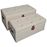 Charlotte Storage Bench - Tufted Ivory Fabric (Set of 2)