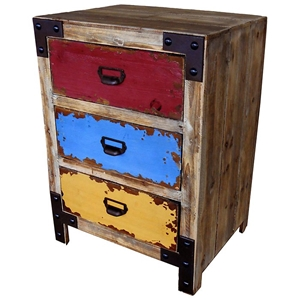 Constance 3-Drawer Chest - Multicolored Drawers