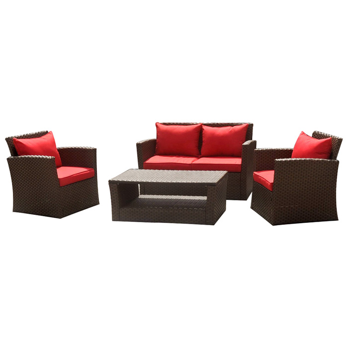 St. Lucia Outdoor Patio Set - Mocha Wicker, Red Cushions - INTC-BD-1832-B-035