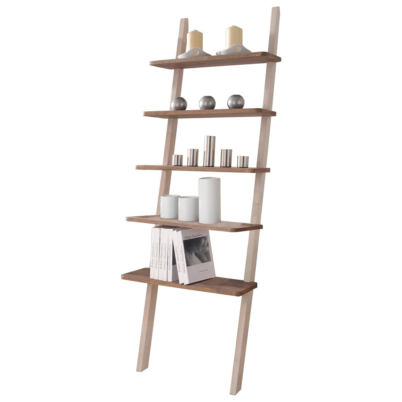 Geneva Leaning Ladder Bookcase Raw White Oak Finish