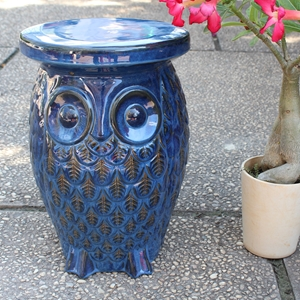 Catalina Wise Garden Stool - Old Owl, Navy Blue