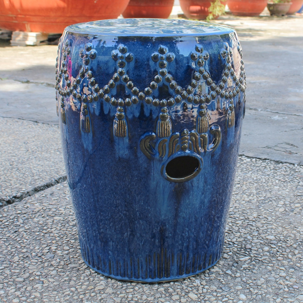 Catalina tasseled drum garden stool navy blue dcg stores for Mundial decor international nv