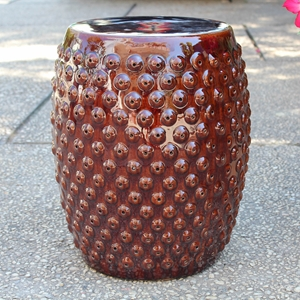Catalina Perforated Drum Garden Stool - Brown