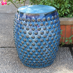 Catalina Perforated Drum Garden Stool - Navy Blue