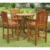 Royal Tahiti Pontevedra 5 Piece Outdoor Bar Set - Round Table - INTC-TT-RT-030-BC-003-4CH