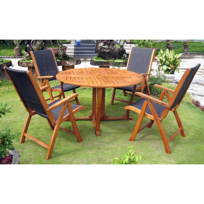 Royal Tahiti Santiago Patio Dining Set - Gate Leg Table, Mesh Chairs - INTC-TT-RT-005-PC-027-4CH