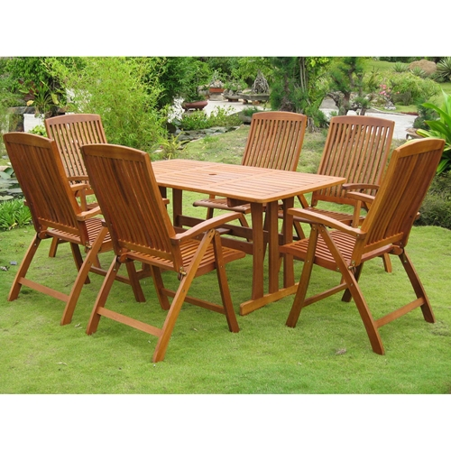 Royal Tahiti La Coruna 7-Piece Balau Patio Dining Set ...