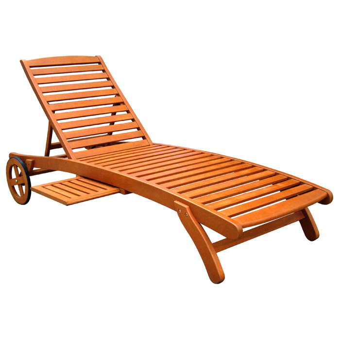 Royal Tahiti Wooden Outdoor Chaise Lounge with Tray - INTC-TT-SL-008-A