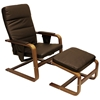 Stockholm Reclining Chair & Ottoman - Walnut Bentwood, Chocolate - INTC-TXCC-03-CH