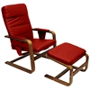 Stockholm Reclining Chair & Ottoman - Walnut Bentwood, Dark Red - INTC-TXCC-03-RD