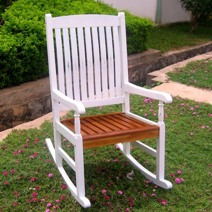 Tessa White Porch Rocker Chair