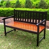 Pescara Black Slatted Wooden Bench - INTC-VF-4110-BK-OK