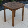 Sunburst Wooden Patio Side Table - INTC-VF-4135