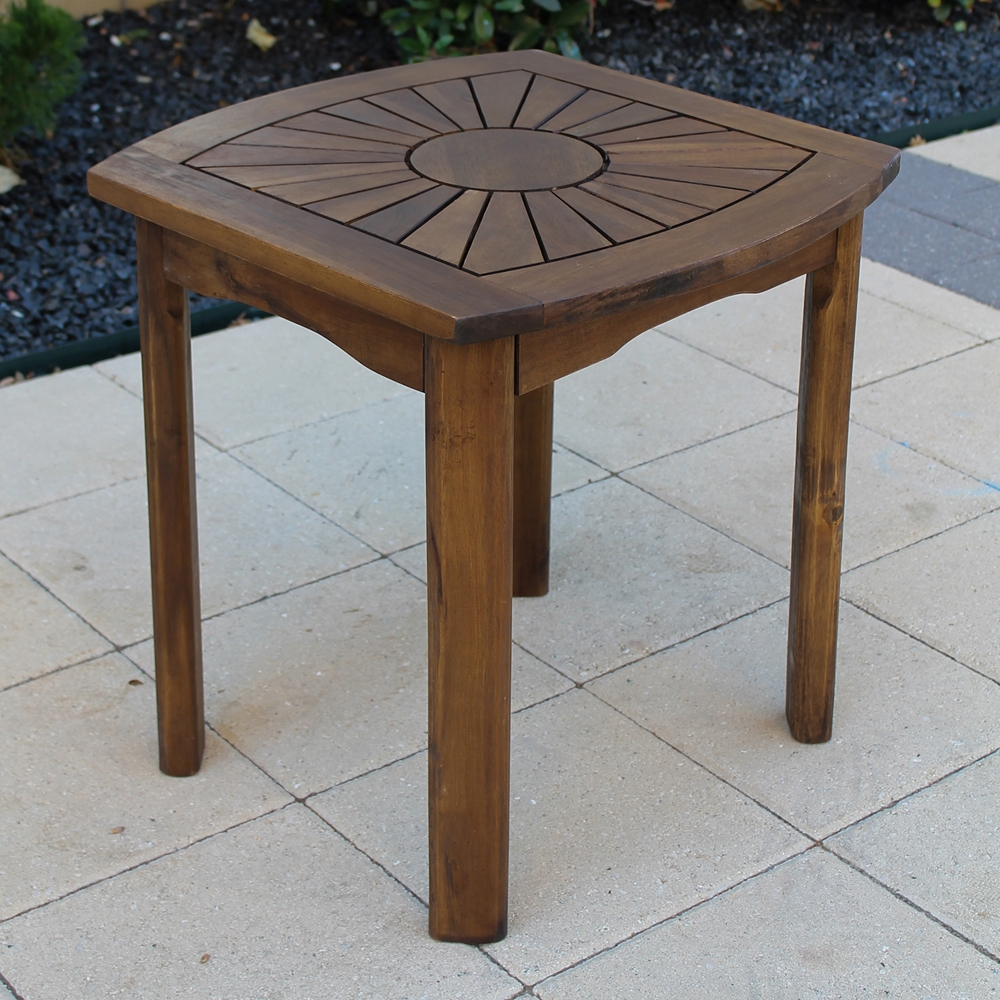 sunburst wooden patio side table dcg stores. Black Bedroom Furniture Sets. Home Design Ideas
