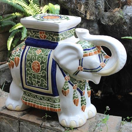 Bombay Large Stool White Mix Porcelain Dcg Stores