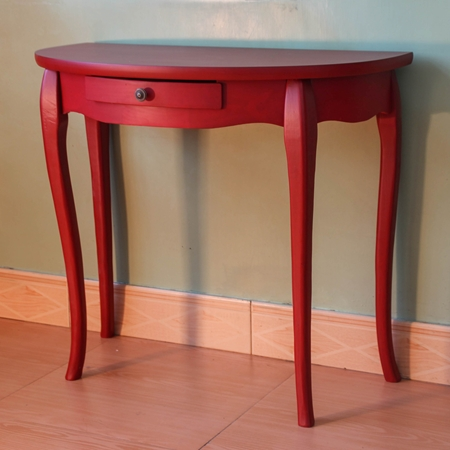 Ashbury Half Moon One Drawer Wall Table Antique Red Dcg Stores