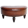 Half-Moon Brown Upholstered Ottoman